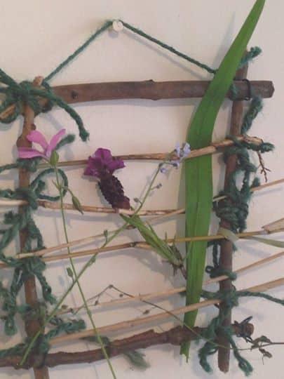 nature weaving, crafty garden
