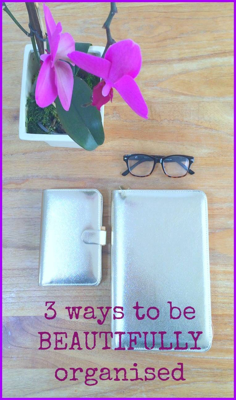 ways to be beautifully organised, gold filofax