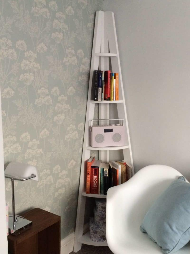 A stylish corner bookcase