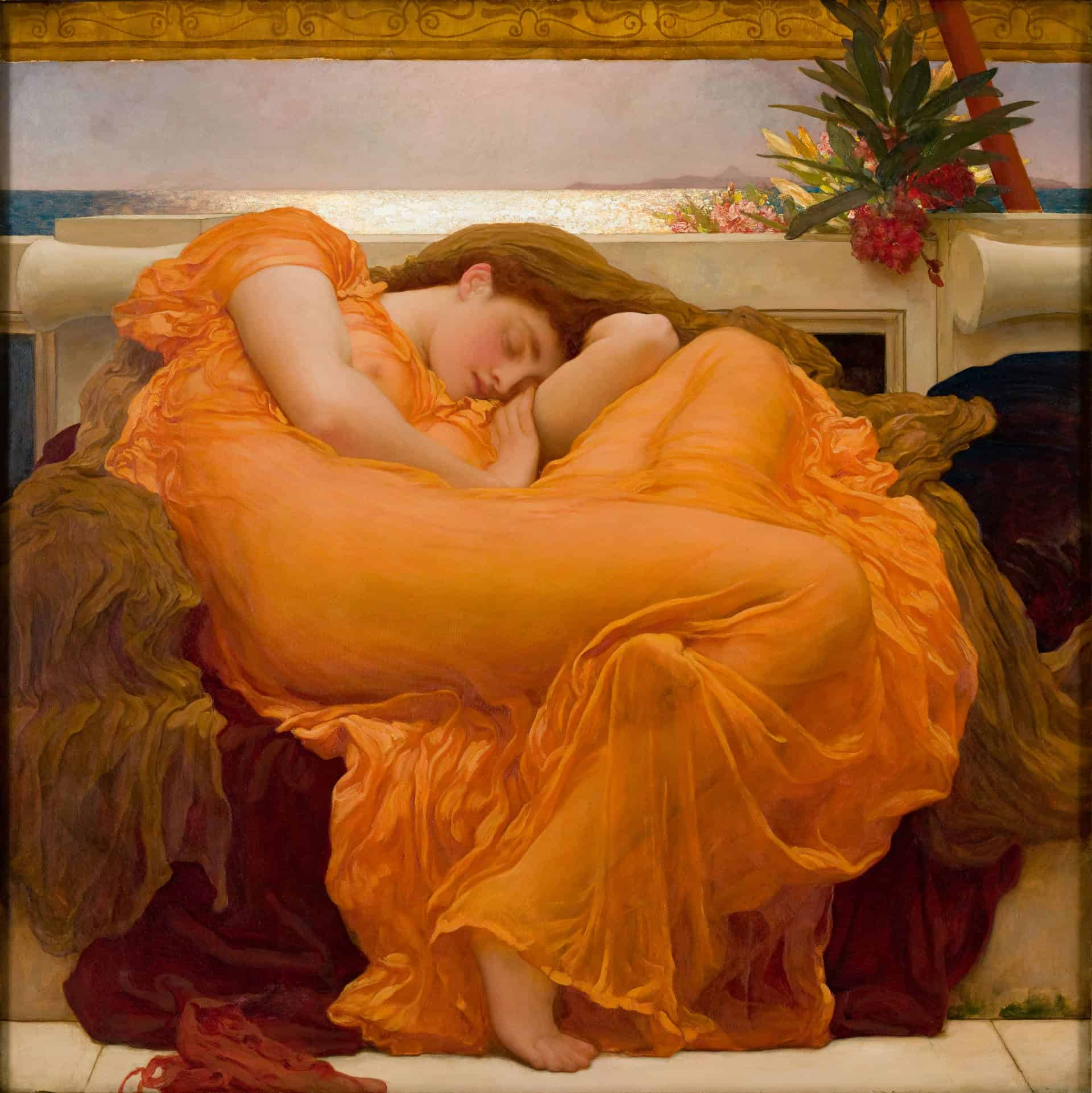 Flaming_June,_by_Frederic_Lord_Leighton_(1830-1896), Flaming June Review