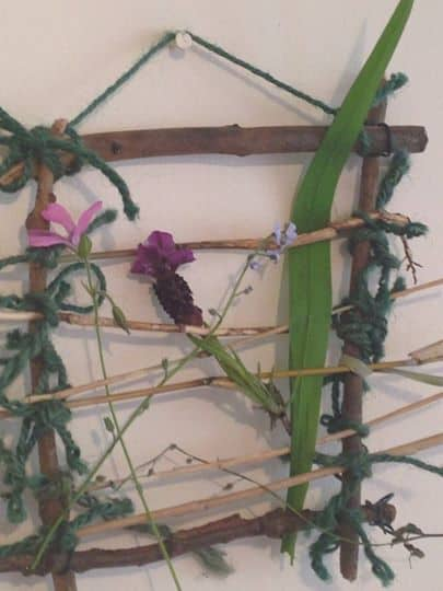 nature weaving, crafty garden