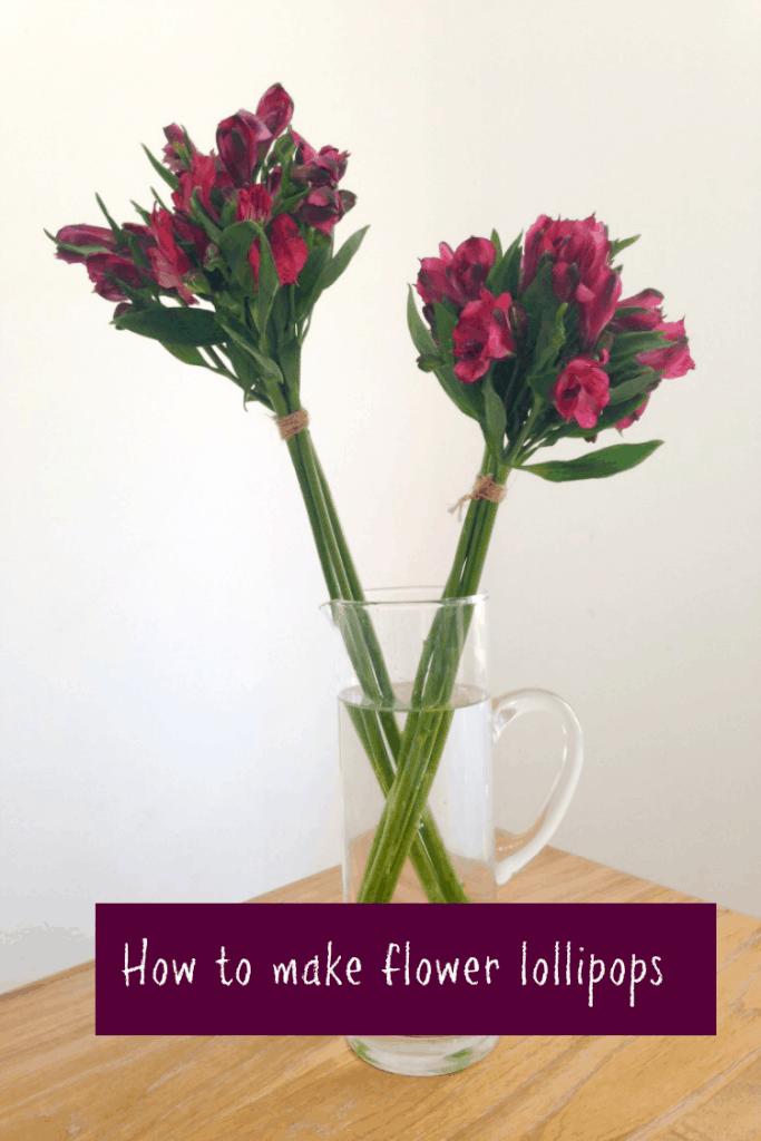 How to make flower lollipops, flower arrranging for beginners