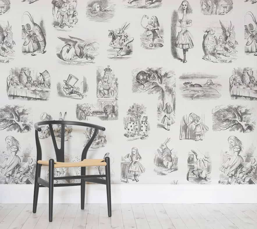 Alice in Wonderland Wallpaper, alice in wonderland mural, alice in wonderland interiors, Alice in Wonderland wallpaper UK, Alice and wonderland wallpaper