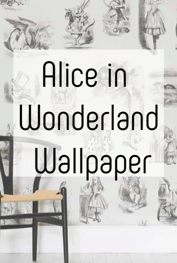 Alice in Wonderland Wallpaper - just the most lovely literary wallpaper absolutely perfect for nursery decor or a playroom #aliceinwonderland #aliceinwonderlandwallpaper #literarywallpaper