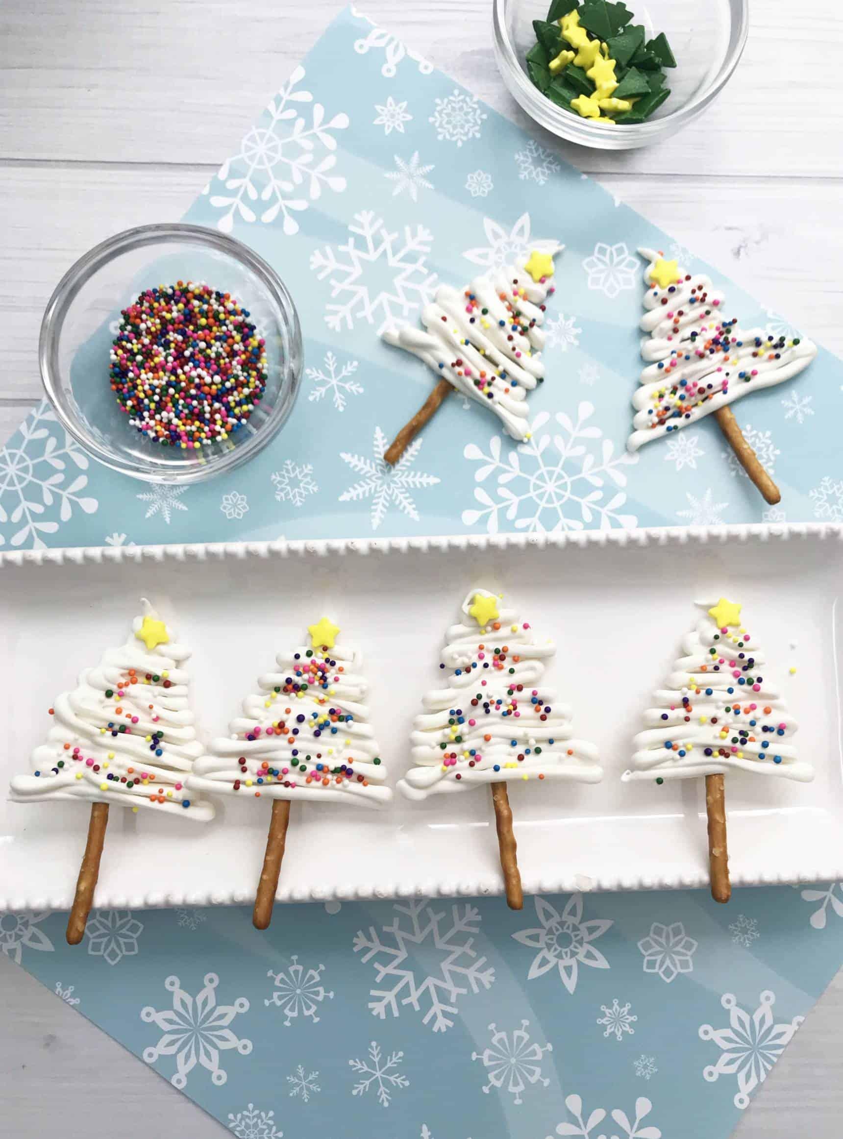 Pretzel and Chocolate Christmas Trees