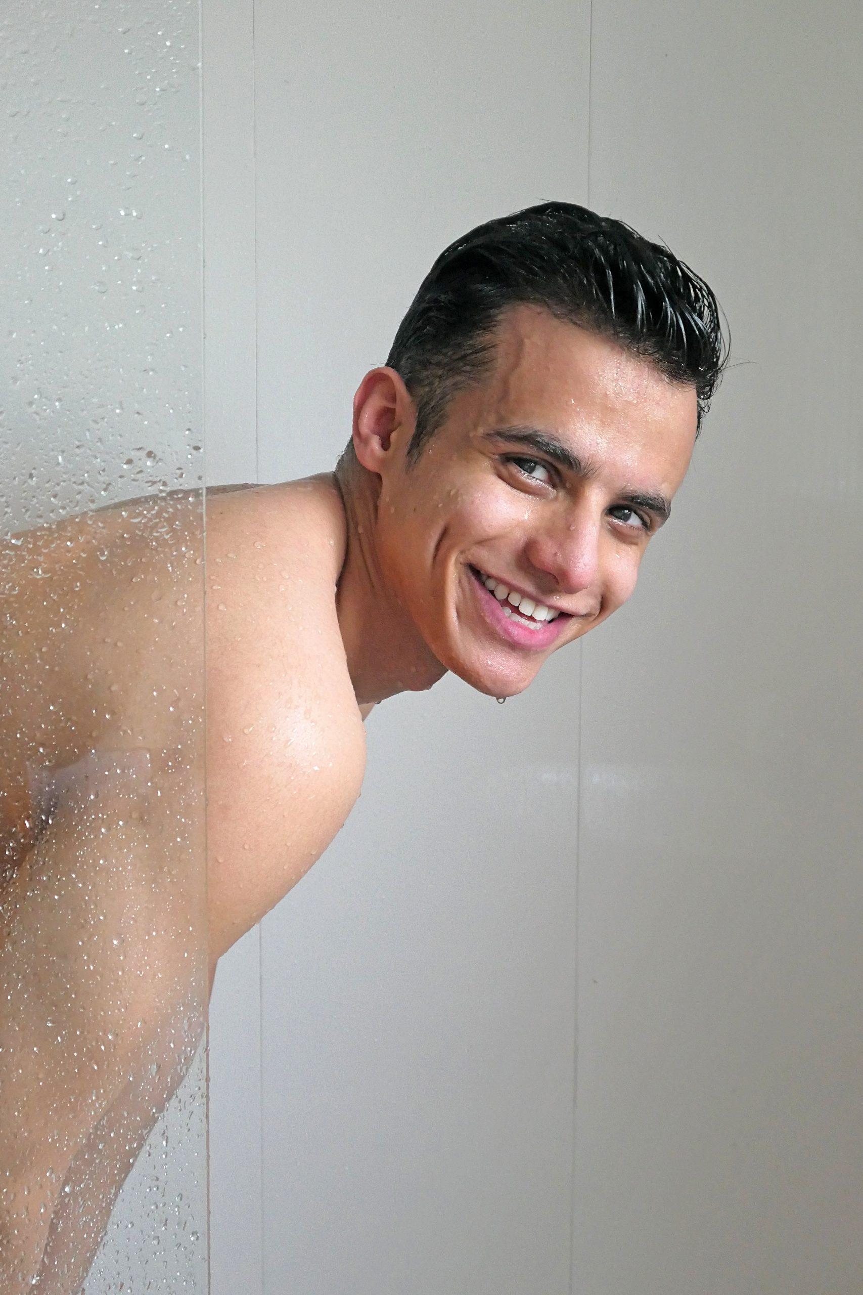 smily man in shower