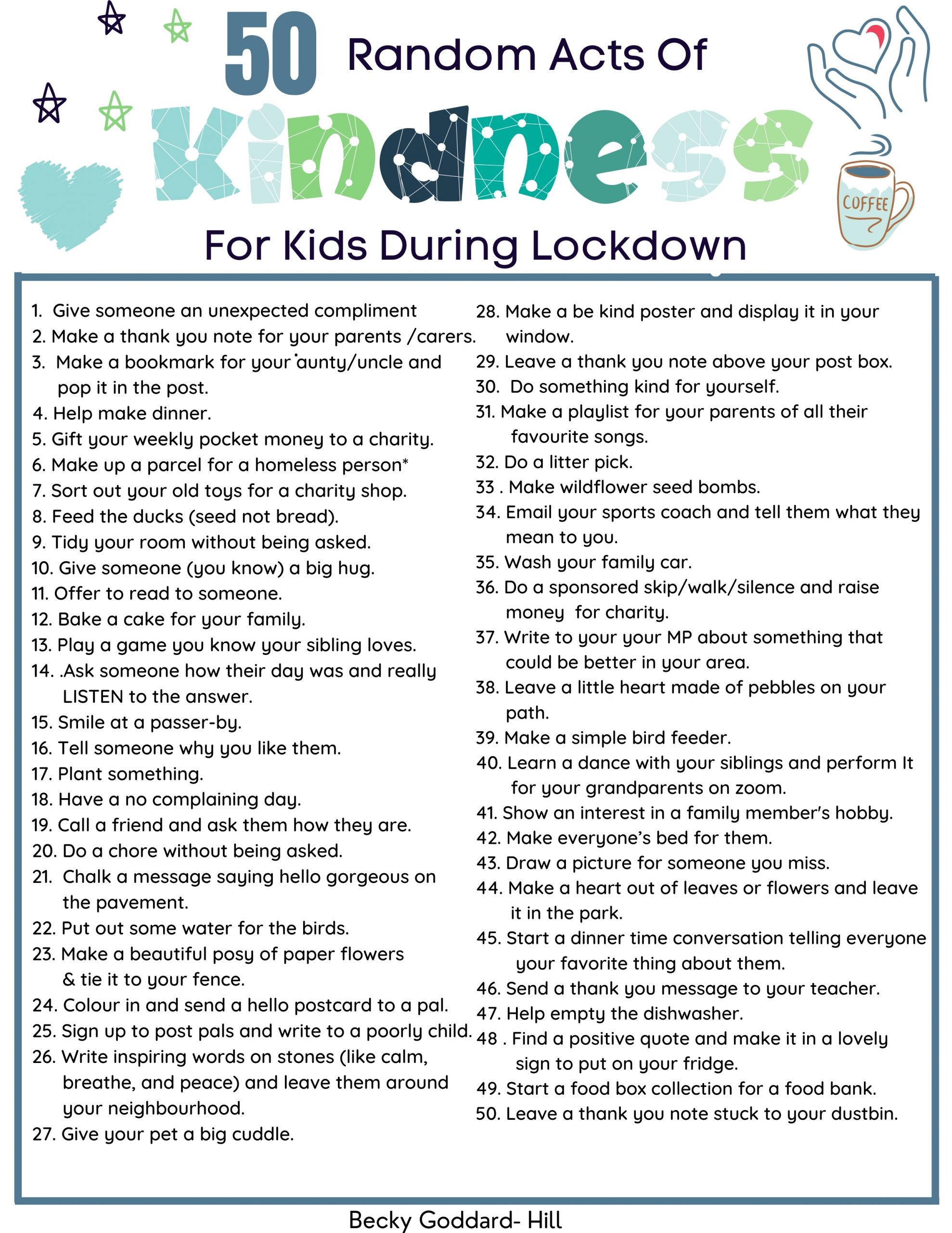Random Acts of Kindness Kids Can Do in Lockdown